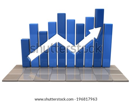Blue business graph - stock photo