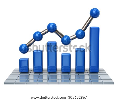 Blue business graph and chart on white background - stock photo