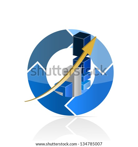 Blue Business Graph illustration design over a white background - stock photo