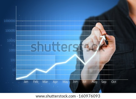 Blue business graph showing growth close up - stock photo