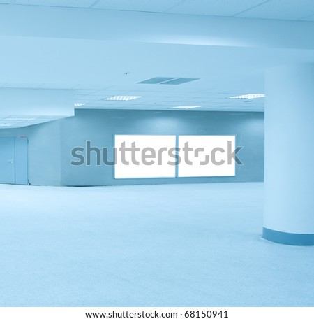 blue business hall with white placards - stock photo