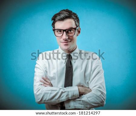 blue businessman - stock photo