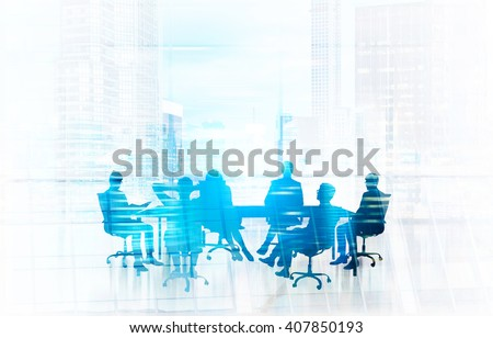 Blue businesspeople silhouette meeting. Double exposure - stock photo