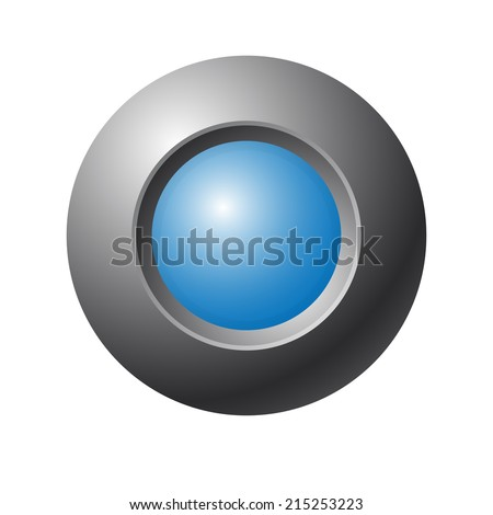 Blue button on gray background - stock photo