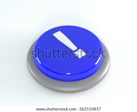 Blue button with exclamation mark, 3d illustration - stock photo