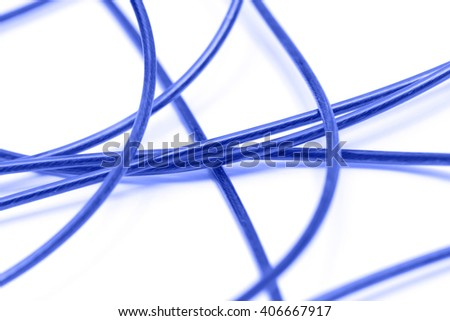 blue cable on a white background - stock photo