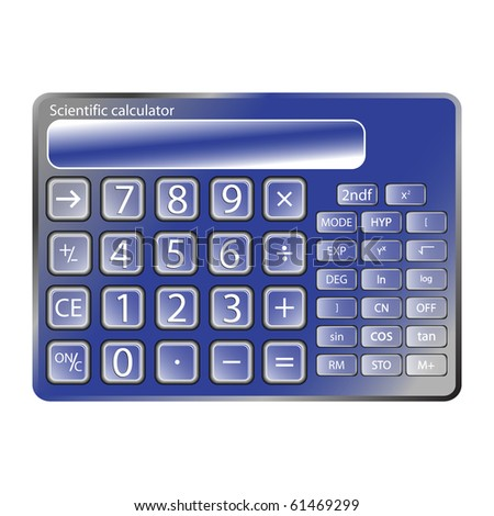blue calculator against white background, abstract art illustration; for vector format please visit my gallery - stock photo