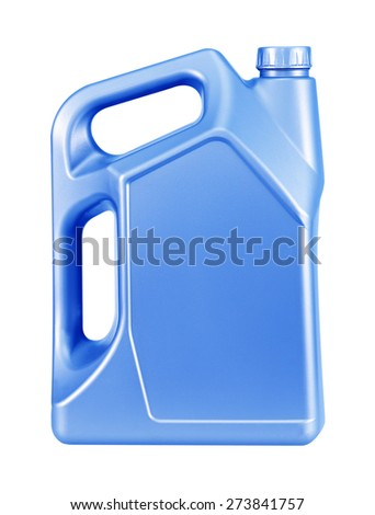 blue canister with engine oil isolated on white background - stock photo
