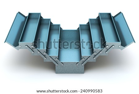 Blue cantilever tool box - stock photo