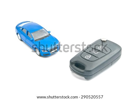 blue car and black car keys on white background - stock photo