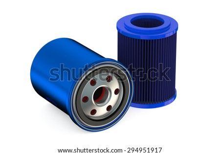 Blue Car Oil filters isolated on white background - stock photo
