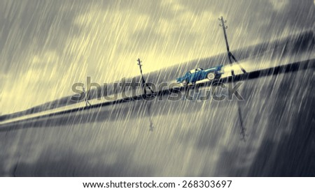 Blue car speed in rain. Crash to glass. Dramatic noir situation. - stock photo