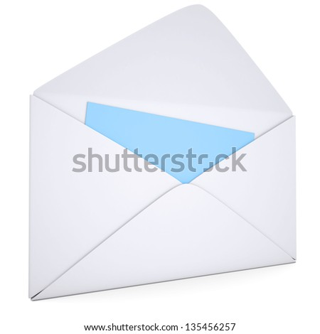 Blue Card in an open white envelope. Isolated render on a white background - stock photo