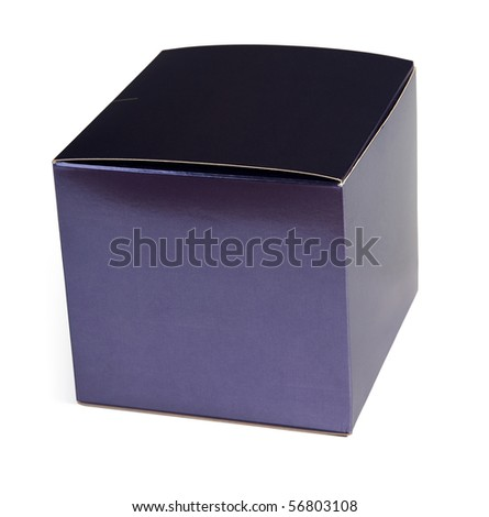 Blue cardboard box for perfume with clear surface for inscriptions - stock photo