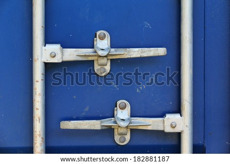 blue cargo freight container shipping, door container lock - stock photo
