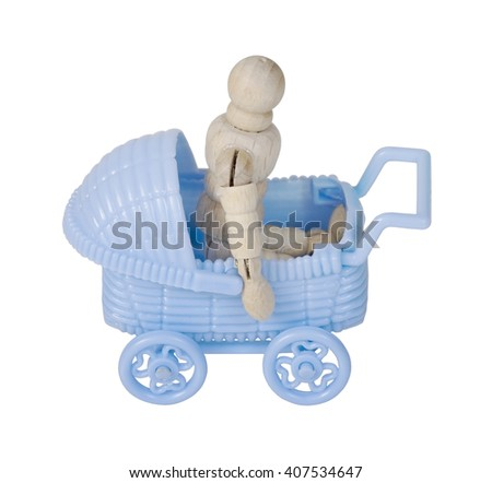 Blue Carriage used to transporting children easily - path included - stock photo