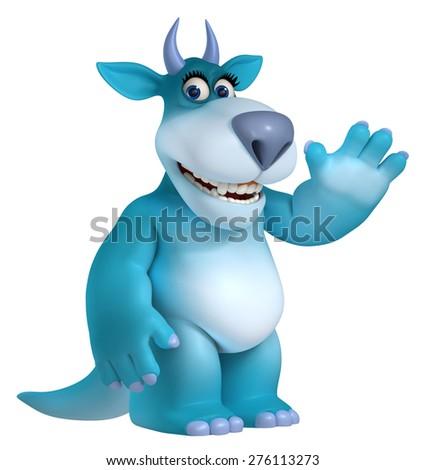 blue cartoon monster 3d - stock photo
