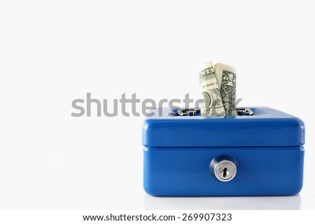 Blue cash box with dollar isolated on white background - stock photo