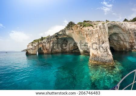 Blue caves along the shore of Zakynthos island, Greece - stock photo