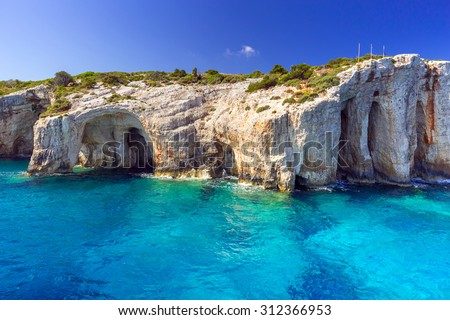 Blue caves at the cliff of Zakynthos island, Greece - stock photo