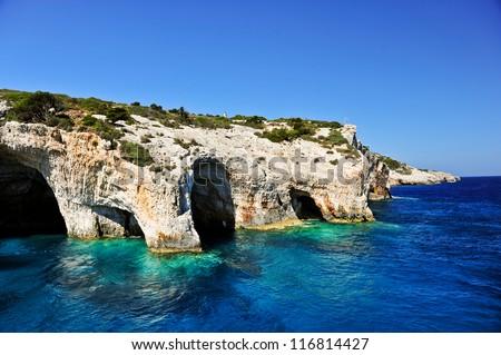 Blue caves on Zakynthos island, Greece .Famous caves with crystal clear waters on Zakynthos island (Greece) - stock photo