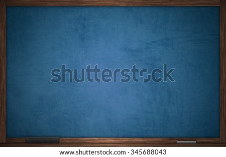 Blue chalkboard in wooden frame with chalk and eraser - stock photo