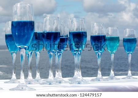 Blue Champagne - stock photo