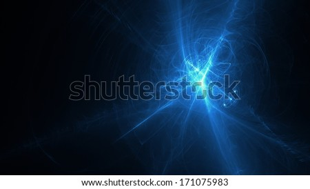 Blue chaotic abstract background - science wallpaper - stock photo