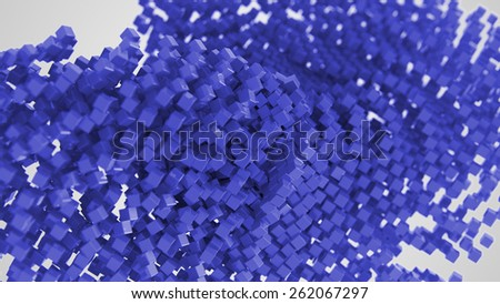 Blue chaotic abstract cube background 3d Illustration - stock photo