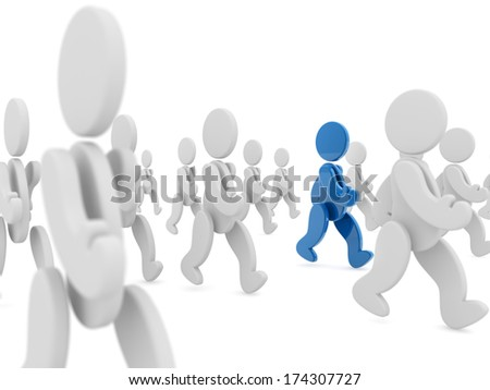 blue character walking in a crowd of white characters - stock photo