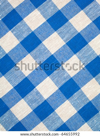 blue checked fabric tablecloth hi res - stock photo