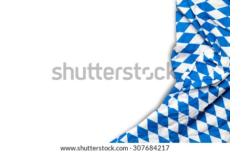blue checkered bavarian tablecloth on a white background - stock photo