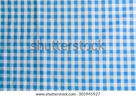 blue checkered tablecloth texture background - stock photo