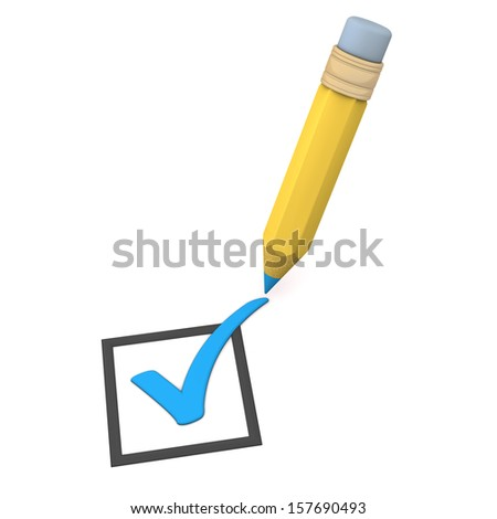 Blue checklist with pencil on the white background. - stock photo