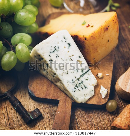 Blue cheese close-up.  Food background - stock photo