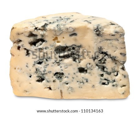Blue cheese isolated on white background - stock photo