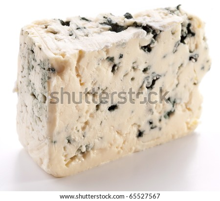Blue cheese on a white background. - stock photo