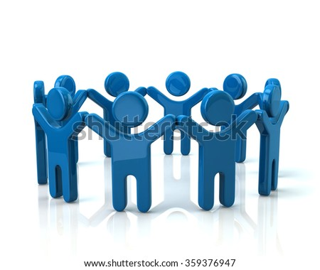 Blue children holding hands in a circle on white background - stock photo