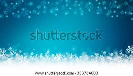 blue christmas and winter image background.Wide horizontal banner.  - stock photo