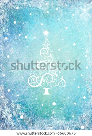 Blue Christmas background with christmas tree - stock photo