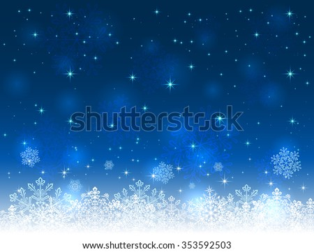 Blue Christmas background with snowflakes and stars, illustration.  - stock photo