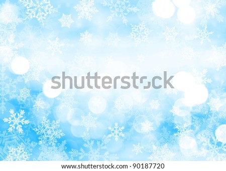 Blue Christmas background with snowflakes in different sizes. Snowflakes are drawn from these natural snowflakes. - stock photo