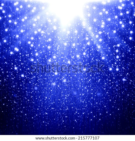 Blue christmas background with star - stock photo