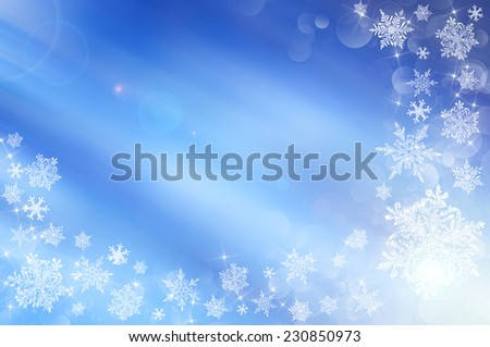 Blue christmas background with stars and white snowflakes - stock photo