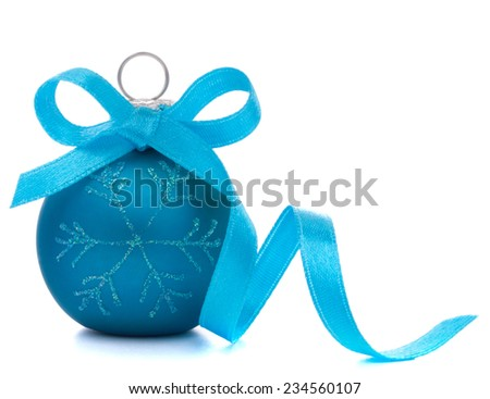 Blue Christmas ball isolated on white background cutout - stock photo