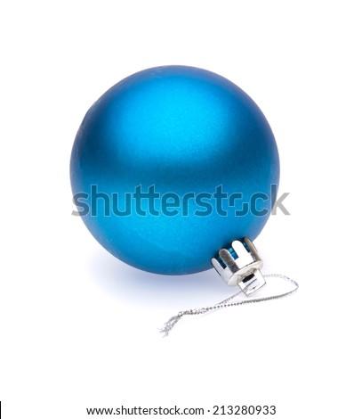 blue christmas ball on white background - stock photo