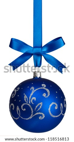 blue christmas  ball with bow hanging on ribbon isolated on white - stock photo