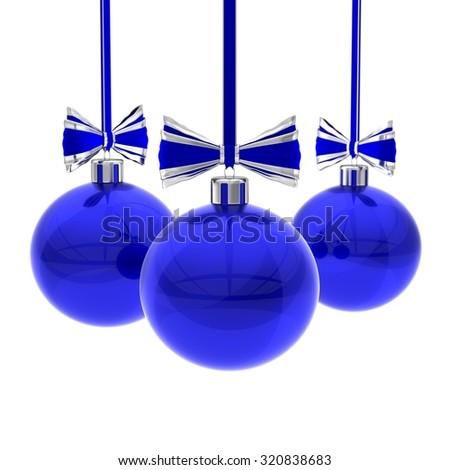 Blue Christmas balls against white - stock photo