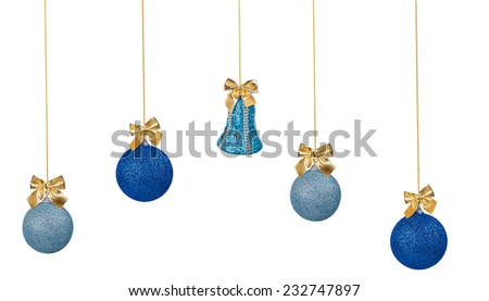 Blue Christmas balls and bell with golden bows isolated on a white background - stock photo