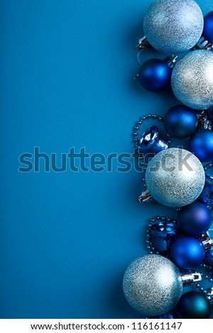 blue christmas balls border - stock photo